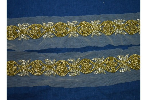 Exclusive wedding dress bridal belt sashes gold beaded trim crafting sewing accessories