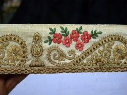 Champagne Indian Sari Border Trim Silk Decorative Ribbon