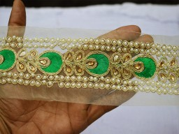 Green and golden kundan lace with glass work bead on net fabric trim by the yard festive mood unique design bridal dresses christmas supplies trimmings