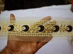 Stone Work Border Embellishment Trim For Designer Dresses