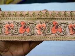 3 Inch Wide Wholesale Peach Indian Pure Dupioni Silk Sari Border Home Decor Trim By 9 Yard Gift Wrapping Beautiful Lace Decorative  Stylish Floral Pattern For Making Designing Festive Wears