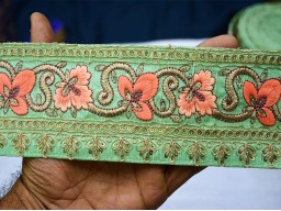 Beautiful stunning clothing accessories designer trims on mint green pure dupioni silk fabric with sequence work