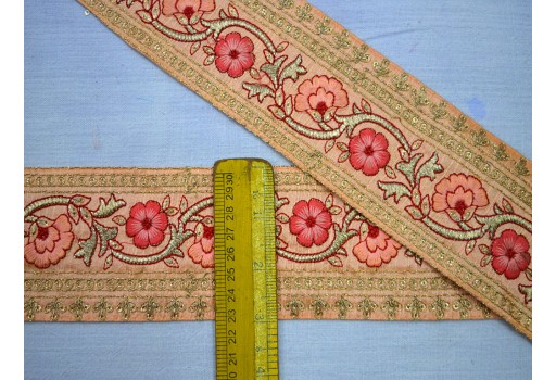 3 Inch Wide Wholesale Crazy Quilting Trim By 9 Yard Indian Decorative Home Decor Embroidered Fashion Tape Holiday Crafting Ribbon Supplies For Making Beautiful Stylish Tunics