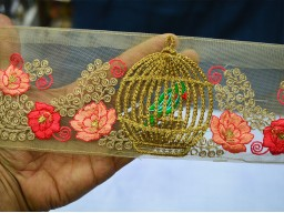 Green and gold embroidered designer borders on net fabric ribbon embroidered sewing costume floral designing lace for stylish wedding wears trimmings