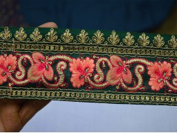 "3"" Wholesale Trim By 9 Yard Bottle Green Indian Sari Border Gift Wrapping Decorative Silk Embroidered Ribbon Fashion Tape Lace Sewing Fabric Floral Designing Stylish Clothing Accessories Trimming"