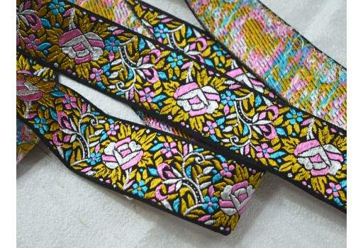 Multi colour small floral design jacquard trim by 2 yard weaving border beautiful stunning ribbon kids wears and dresses festive mood outfit lace for for clutches