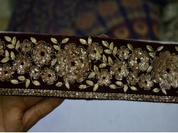 Clothing accessories maroon colour and dull embroidered designer on velvet fabric with sequence work trim by the yard stunning table decoration lace for wedding wears