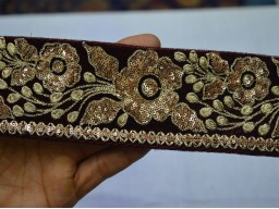 Maroon colour and dull gold embroidered designer trim by the yard crazy quilting crafting supplies sewing costume garments accessories