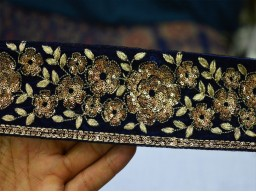Color and Dull Gold Designer Trims on Blue color Velvet fabric