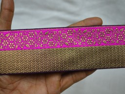 Fancy dresses borders sold by 2 yard magenta ribbon decorative craft jacquard trim party wear designing sari border trimmings for clothing laces