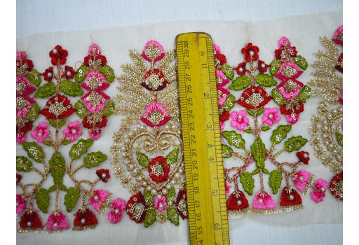 Indian laces sari border wedding lehnga trim by the yard embroidered decorative clothing accessories decorative sewing fabric craft ribbon trimmings for designer dresses