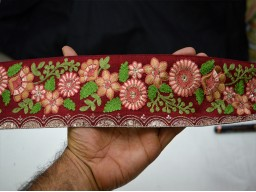 "3"" Peach Embroidered Trim By The Yard Home Decor Craft Supplies Decorative Indian Embroidery Stylish Fancy Ethnic Embellishment Sewing Crafting Ribbon"