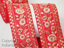 Amaranth red and gold embroidered designer trims on silk fabric ribbon costume fashion tape trim by the yard designer border for making stylish tunics