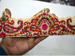 Wholesale maroon embroidery sari border craft ribbon decorative laces  by 9 yard costume fashion trim clothing accessories crafting sewing home decor christmas supplies beautiful stunning traditional tape