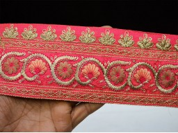 Amaranth Red Indian Decorative Sari Border Trim By The Yard