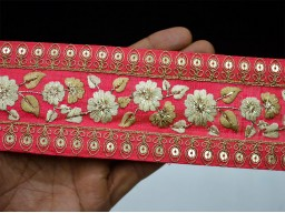 Amaranth red embroidered trim by the yard table decoration costume lace decorative wedding wears and dresses ribbon crafting sewing border fashion tape trimmings