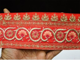 3 Inch wide Red Embroidered designer Sari Border Trimming Decorative Sewing Indian Fabric Trim Embroidery Border By The Yard
