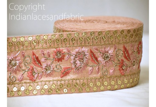 Gold embroidered designer fabric trim on pink silk fabric trim by the yard decorative sewing craft ribbon fashion tape borders a perfect embellishment for a bridal dresses