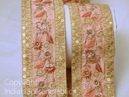 Gold embroidered designer fabric trim on pink silk fabric trim by the yard decorative sewing craft ribbon fash..