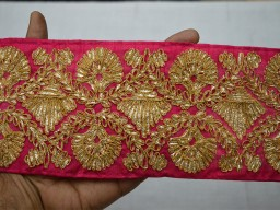 Magenta gold finish trim the yard costume crafting for sari border decorative table decoration border embellishment wedding trimmings