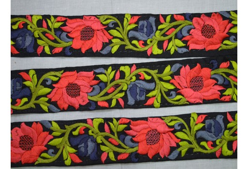 1.8 Inch wide Flower Design Embroidered Sari Border Decorative Sewing Fabric Trimming By 2 Yard