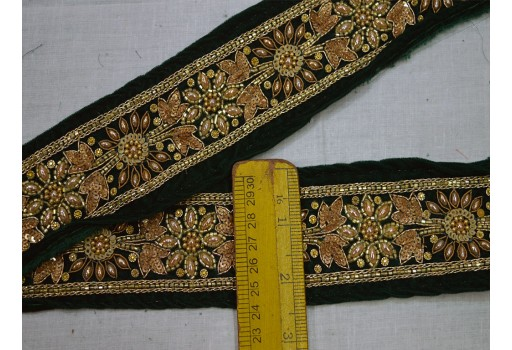 Bottle Green and Gold Embroidered designer Fabric Trims on Bottle Green Color Velvet Fabric