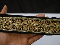 Gold embroidered designer fabric trim by the yard designer skirt costume fashion tape ribbon decorative designing stylish wedding wears and dresses