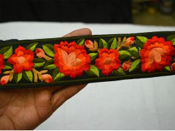 Beautiful Metallic Orange Embroidered Designer Trims On Black Silk Fabric