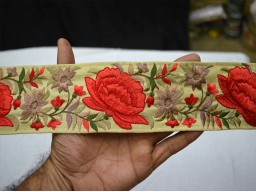 2.5 Inch wide Wholesale Red Embroidered Fabric Trim and Embellishment Indian Trim By 9 Yard Saree Ribbon Silk Sari Border Decorative Sewing Crafting Laces