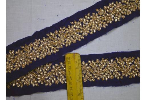 Blue Kundan Saree Border Velvet Fabric Trim By The Yard