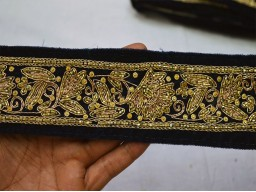 Gold embroidered designer trim by the yard beautiful stunning border decorative sewing costume fashion chirstmas supplies lace for designing stylish for festive wears