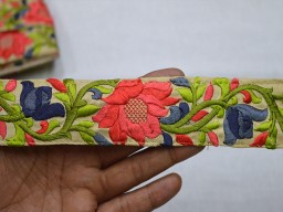 Coral Decorative Embroidered designer Trims