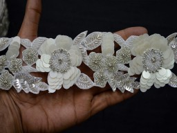 Exclusive Handcrafted Indian Beaded Lace For Designer Dresses