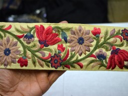 Amaranth embroidered trim by the yard beautiful stunning border sewing costume fabric border fashion tape ribbon chirstmas supplies clothing accessories