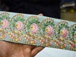 Pink green and gold embroidered designer trims on gray silk fabric ribbon floral pattern gift wrapping boutique material lace for stylish kids wears trimmings