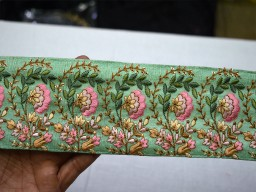 3.2 Inch wide Wholesale Mint Green Embroidered Trimmings Ribbon Saree Border Fabric Trim By 9 Yard Embroidery Designer Laces Sari Border gold indian trim
