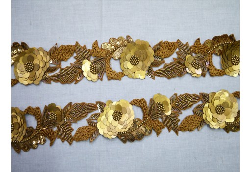Antique Gold Indian Beaded Lace Bridal Belt Sashes Decorative Crafting Sari Border