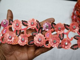 Exclusive Peach Black Indian Beaded Lace Handmade For Wedding Dress And Crafting Sari Border