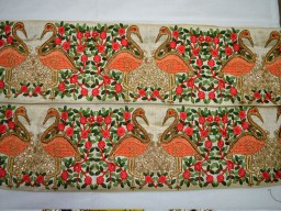 Green Gold Embroidered designer Trims 4.5 Inch wide Wholesale Orange Decorative Ribbon Indian Sari Border Trim By 9 Yard Silk Saree Embroidered Sewing Fabric Trim Crafting Ribbon Trimming Lace
