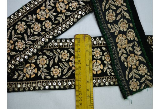 Bottle green embroidered laces on velvet fabric trim by the yard crazy quilting ethnic pretty home decor a perfect embellishment for a designing stylish kids wears