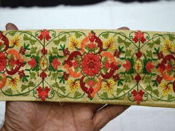 Beige Crafting Ribbon Embroidered On Silk Fabric Decorative Indian Sari Border