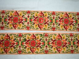 3 Inch wide Wholesale Peach Crafting Ribbon Embroidered Trims Sewing Fabric Trim Silk Fabric Decorative Indian Embroidery designer Trims on Peach Sari Border Trim By 9 Yard Trimmings