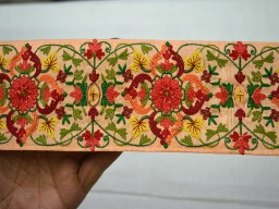 Peach Crafting Ribbon Embroidered Sewing Decorative Trims