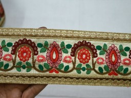 Decorative Embroidered Ivory Crafting Sari Border Trim