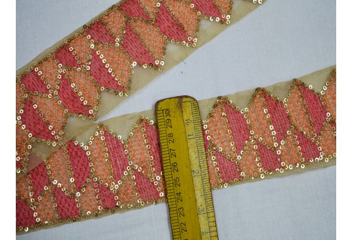 2.5 Inch wide Wholesale Peaches Decorative Indian Trim by 9 yard Crafting Trim Embroidered Saree Laces Ribbon Fabric trims and embellishments Sari Border Trim Floral Sari Border Peaches, Coral Red and Gold Embroidered Trim