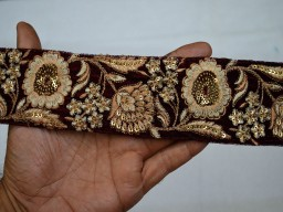 Maroon Velvet Fabric Border Embroidered Laces For Purses