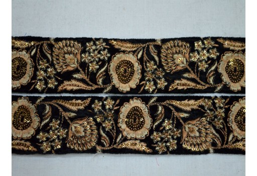 Beige colour and dull gold embroidered designer fabric trim by the yard beautiful stunning borders costume fashion tape trimming for clutches