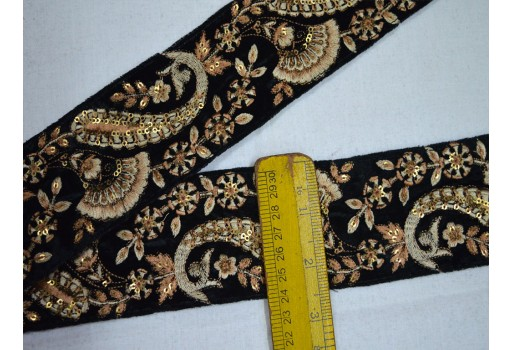 Black exclusive dull gold embroidered designer velvet fabric trim by the yard decorative christmas supplies costume fashion tape lace for designing stylish kids wears