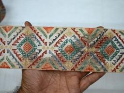 Beige Decorative Stylish Trim Embellishments Sari Border