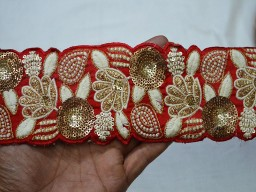 Red Crafting Ribbon Embroidered Trims